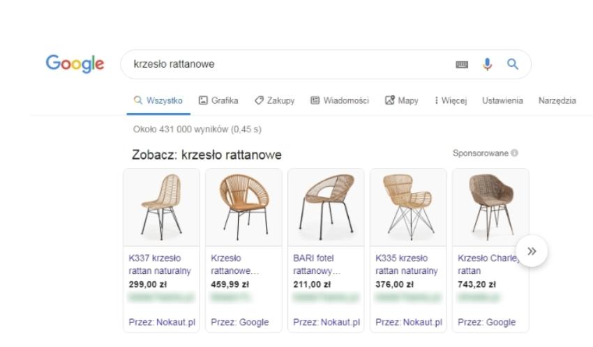Przykład kampanii produktowej Google Shopping Ads